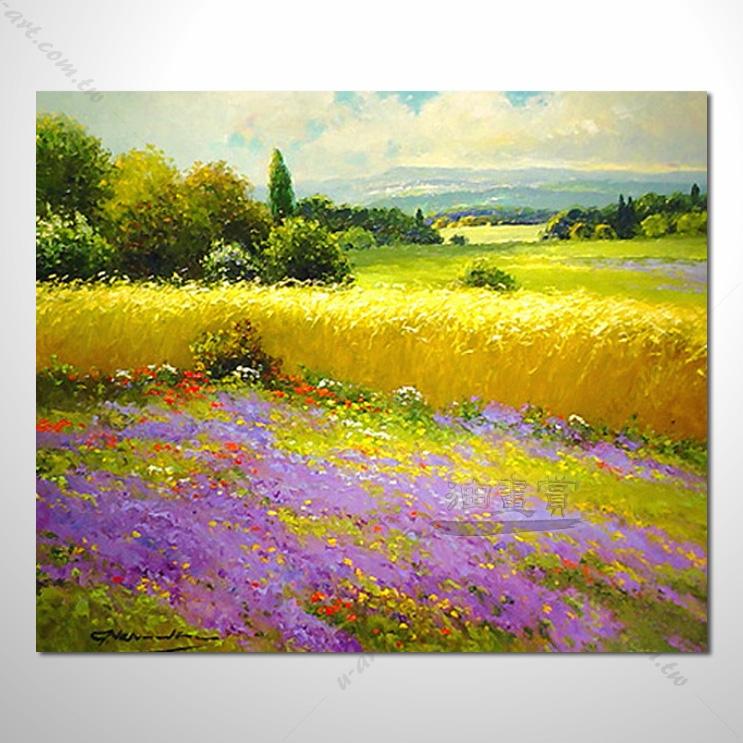 花田景色 6 香气 乡村风景 山水油画 纯手绘 油画 装饰 挂画 田园风景