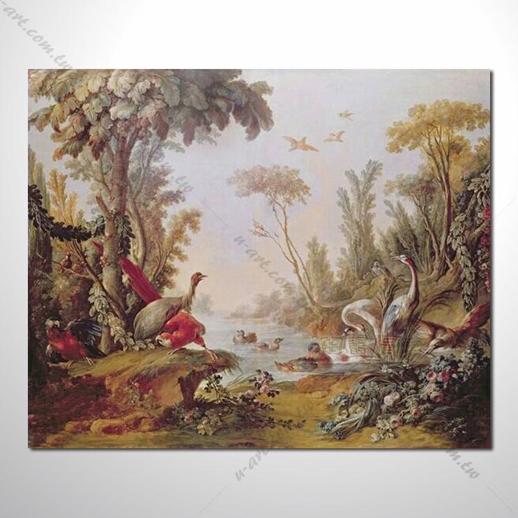 动物王国 鸟类戏水 油画 装饰品 山水画 艺术品 插画 无框画 浮雕立体