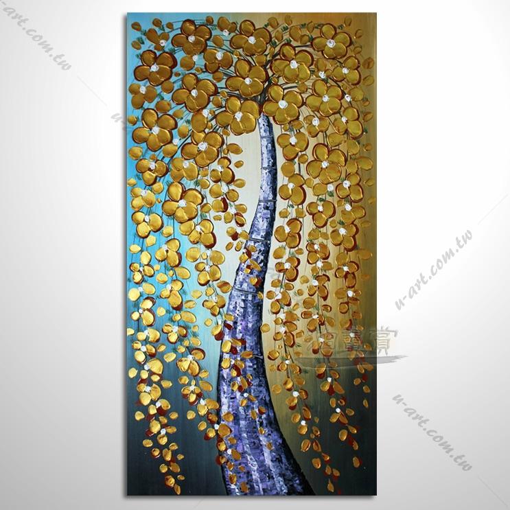 【开运如意 发财树】003 纯手绘油画 直幅 厚花 肌理优 招财 风水