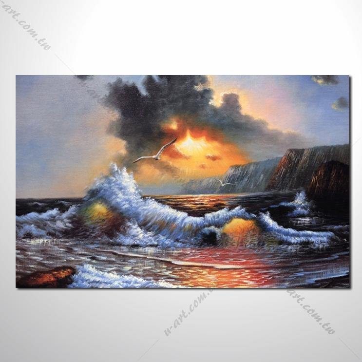 城市之美 大海帆船灯塔 海景48 纯手绘 油画 艺术画 浪漫 沙滩 海湾