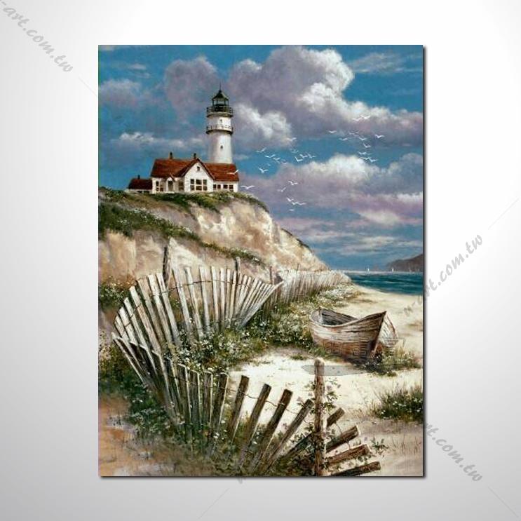 城市之美 大海帆船灯塔 海景43 纯手绘 油画 艺术画 浪漫 沙滩 海湾
