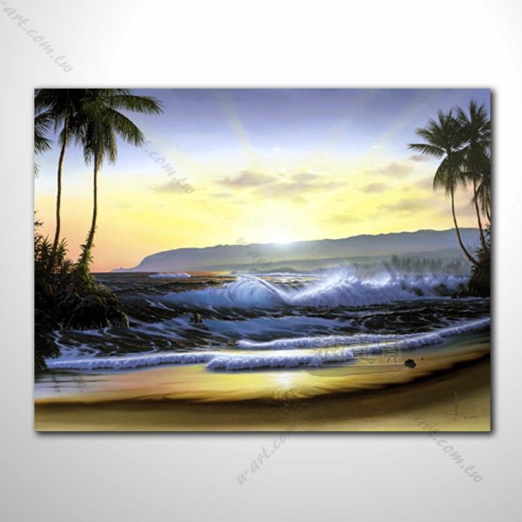 【海景装饰风景画】018 纯手绘 油画 艺术画 浪漫 沙滩 海湾 海浪