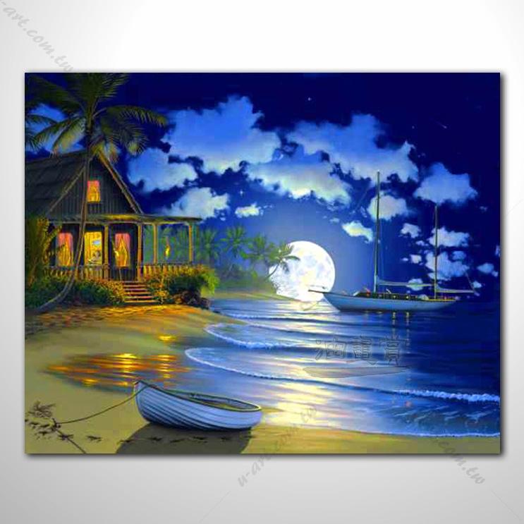 海景55 纯手绘 油画 艺术画 浪漫 沙滩 海湾 海浪 夕阳 民宿 餐厅