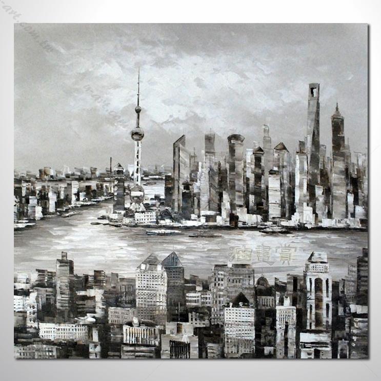 上海景03 風景油畫 異國街景風情 黑白灰色調 絕佳氛圍 山水畫 無框畫