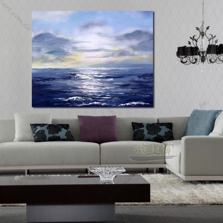 纯手绘 油画 艺术画 浪漫 沙滩 海湾 海浪 夕阳 民宿 餐厅 装潢 室内
